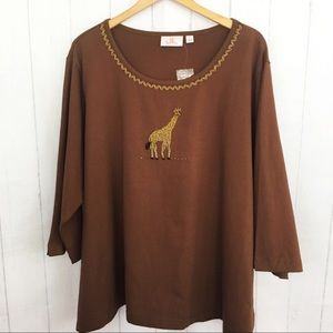 Quacker Factory Brown Top with Beaded Giraffe
